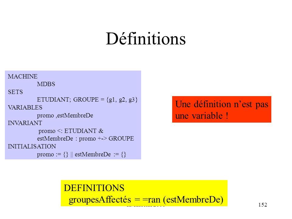 Définitions Une définition n'est pas une variable ! DEFINITIONS