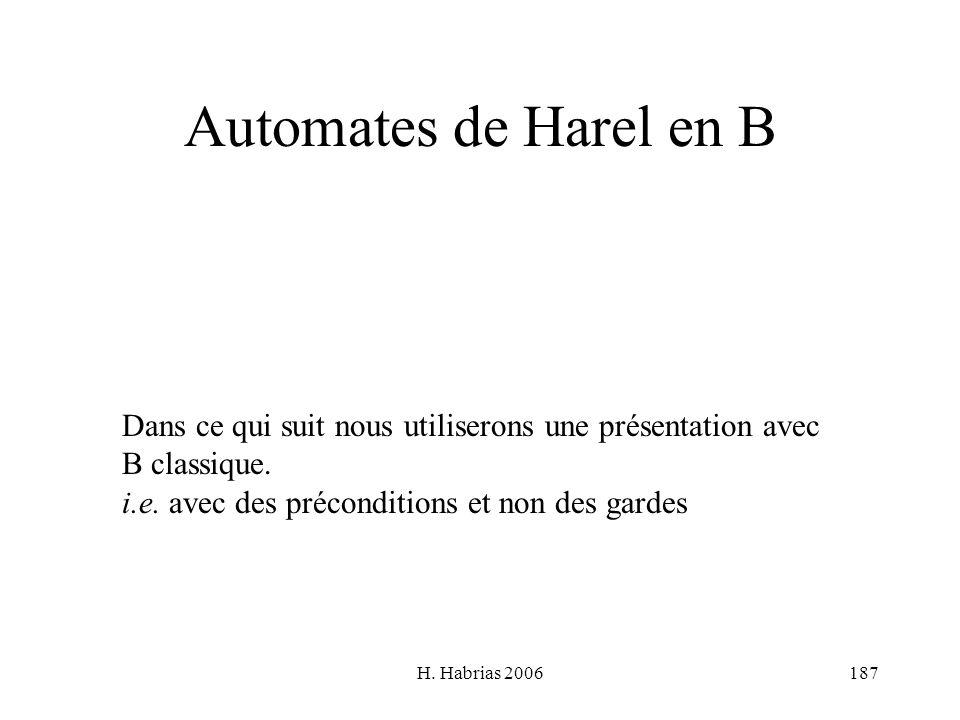 Automates de Harel en B Dans ce qui suit nous utiliserons une présentation avec. B classique. i.e. avec des préconditions et non des gardes.