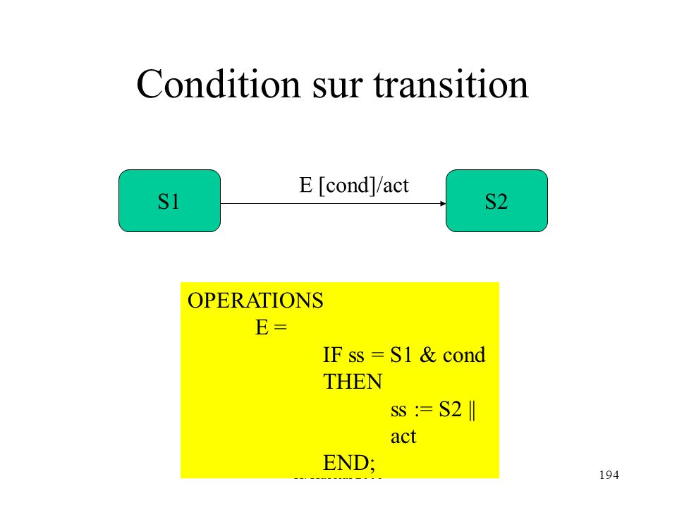 Condition sur transition