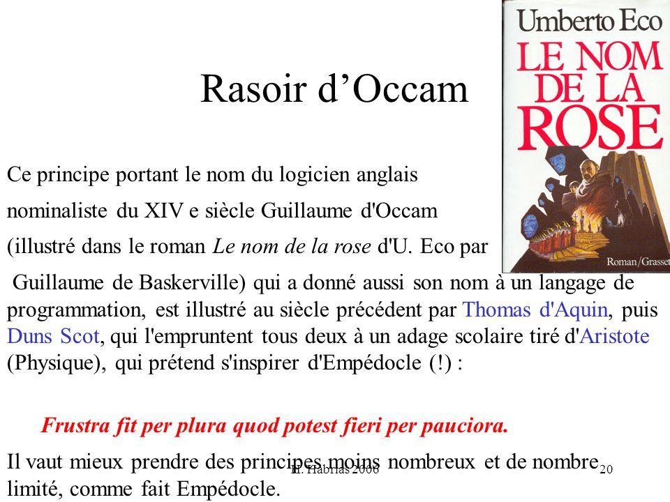 Rasoir d'Occam Ce principe portant le nom du logicien anglais