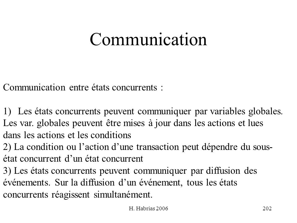 Communication Communication entre états concurrents :