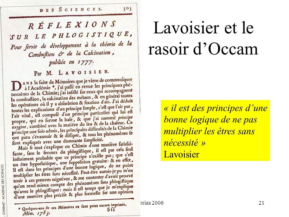 Lavoisier et le rasoir d'Occam