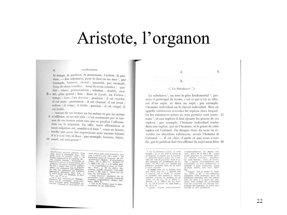 Aristote, l'organon H. Habrias 2006
