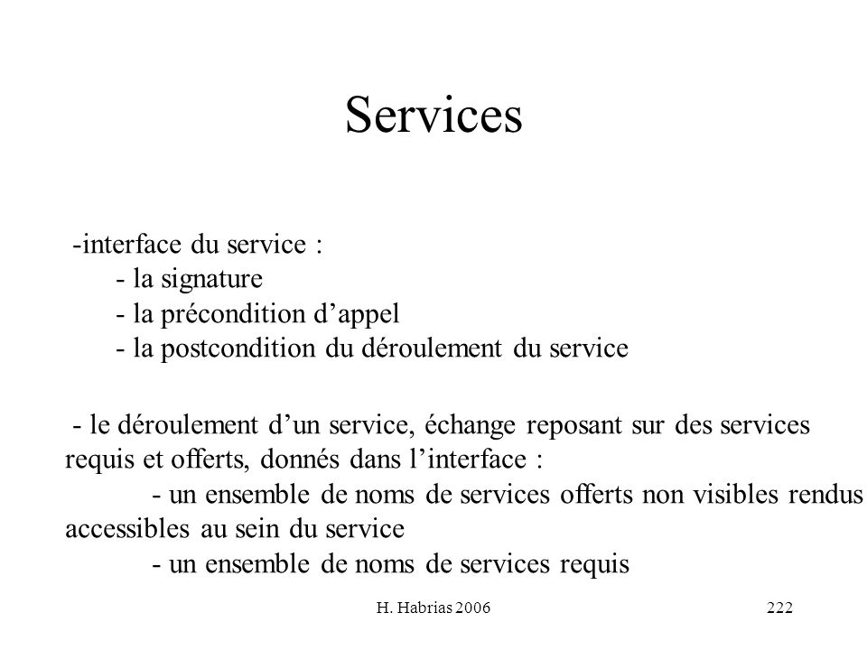 Services interface du service : la signature la précondition d'appel