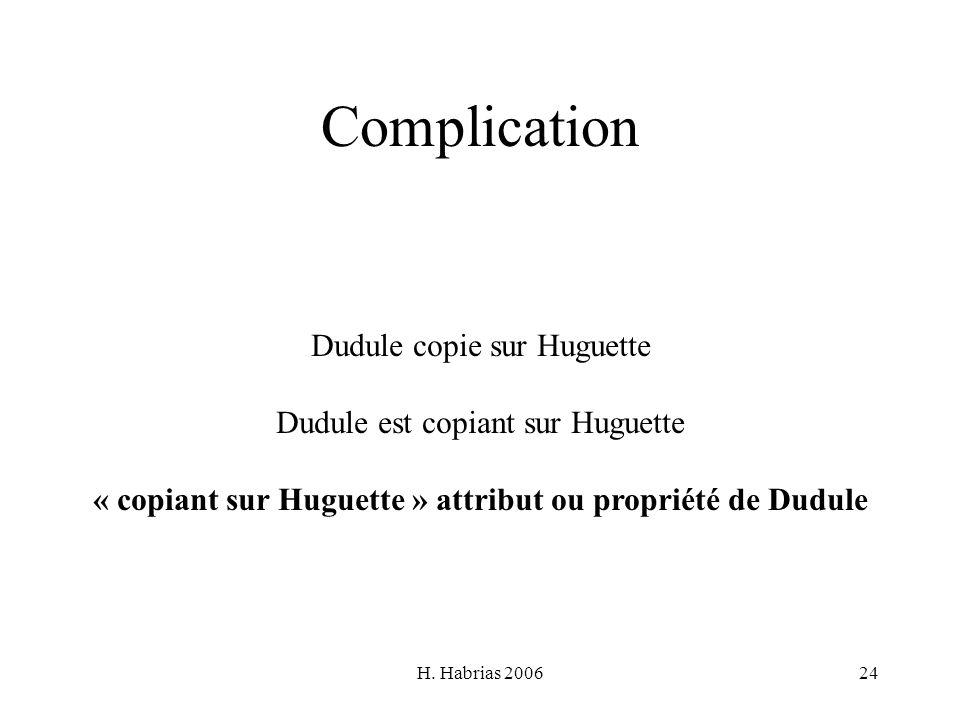 « copiant sur Huguette » attribut ou propriété de Dudule