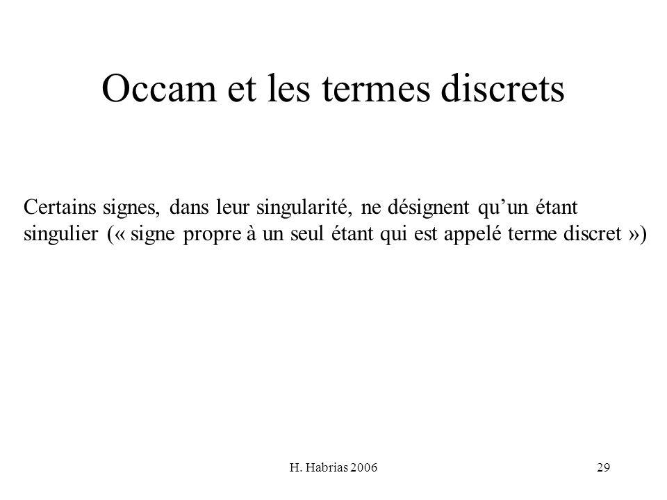 Occam et les termes discrets