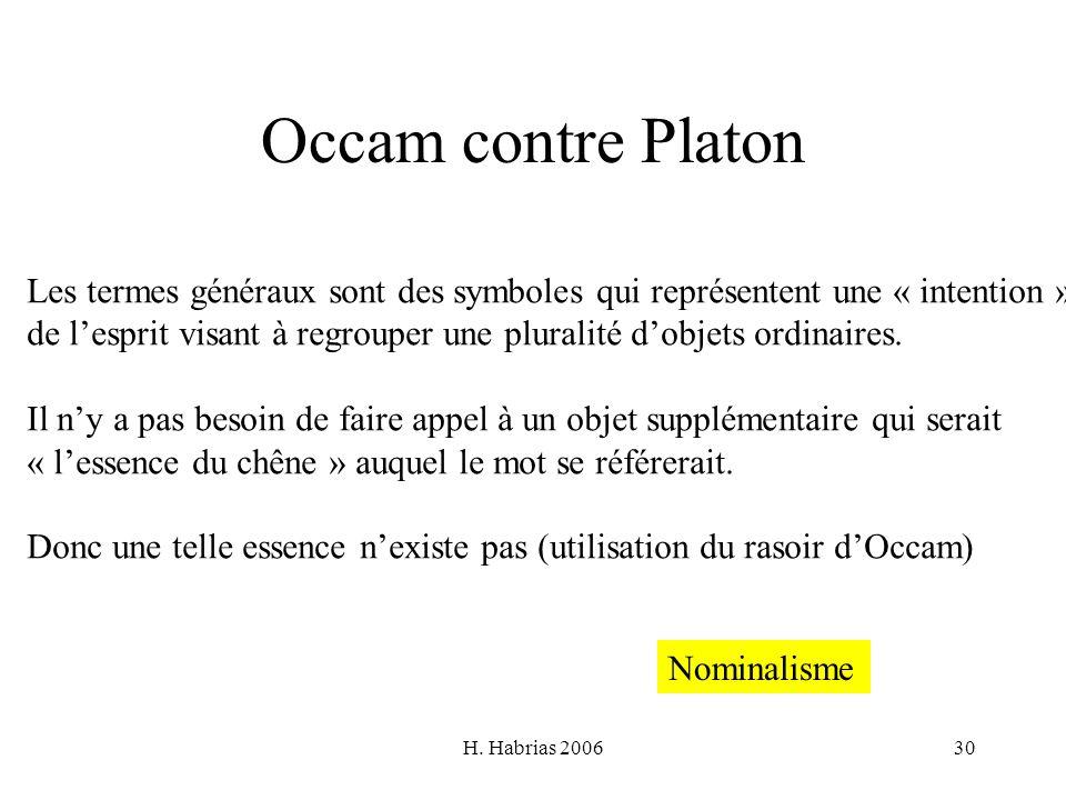 Occam contre Platon Les termes généraux sont des symboles qui représentent une « intention »