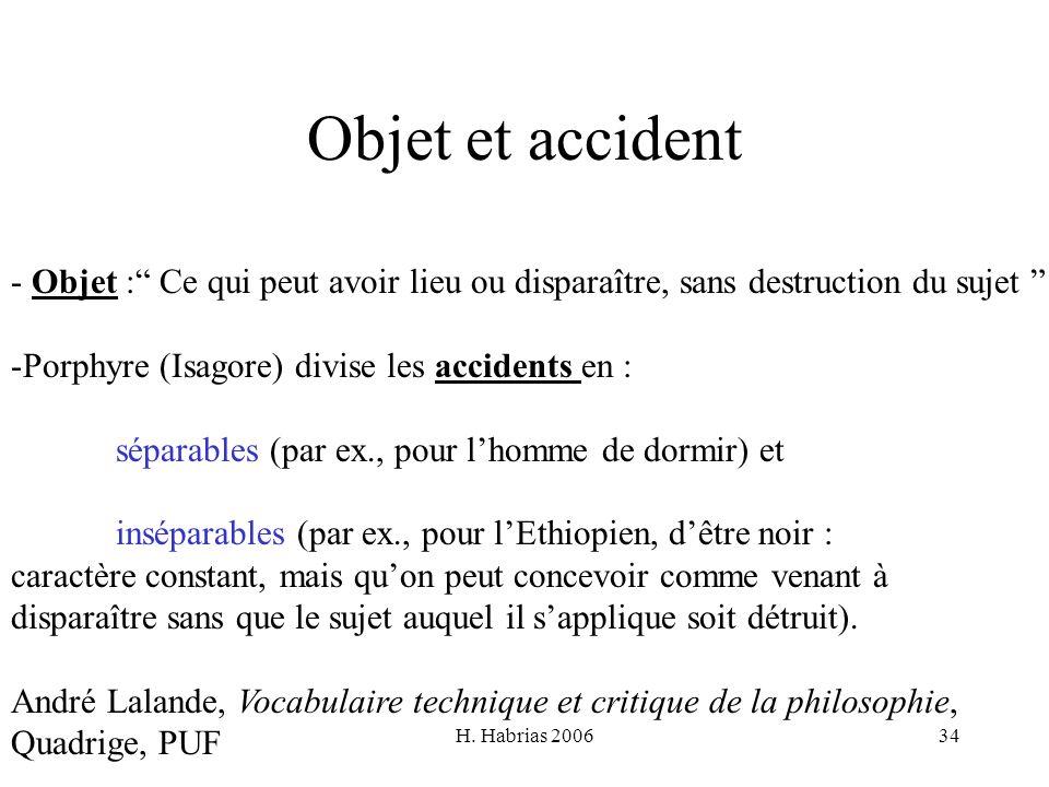 Objet et accident Objet : Ce qui peut avoir lieu ou disparaître, sans destruction du sujet Porphyre (Isagore) divise les accidents en :