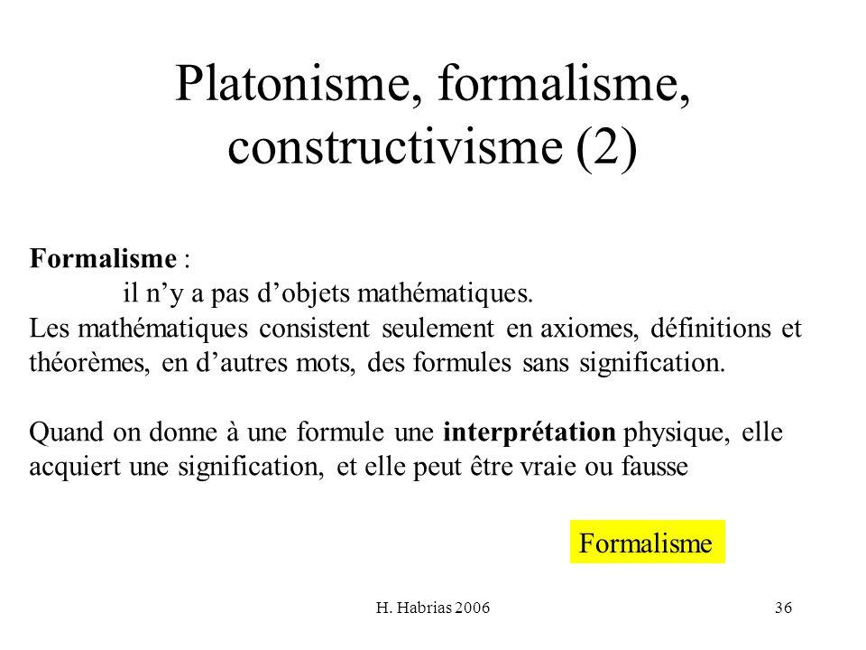 Platonisme, formalisme, constructivisme (2)
