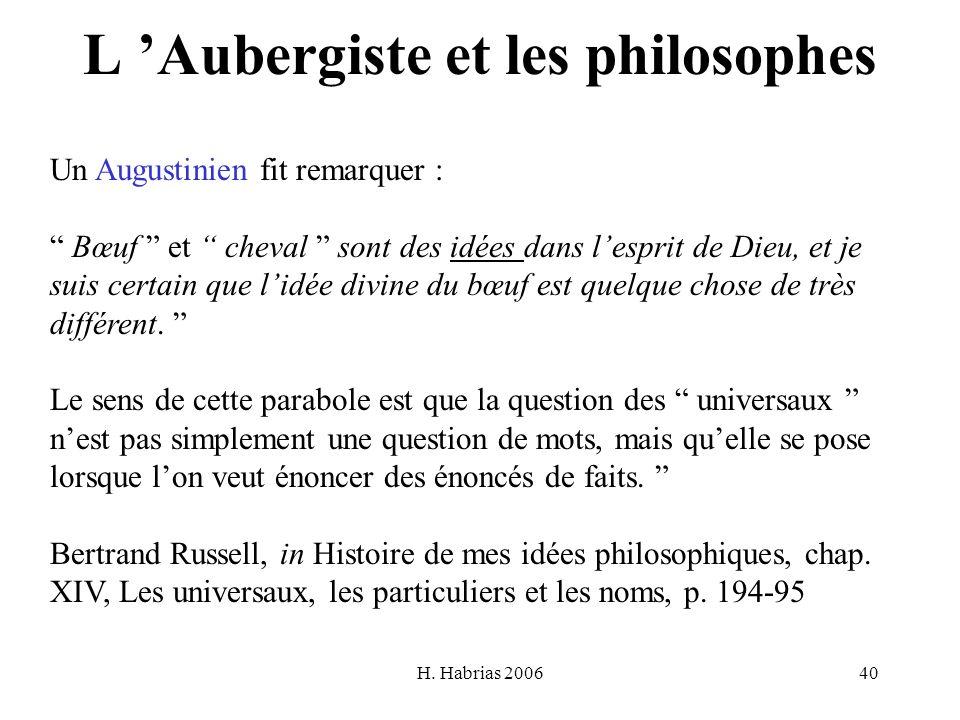 L 'Aubergiste et les philosophes