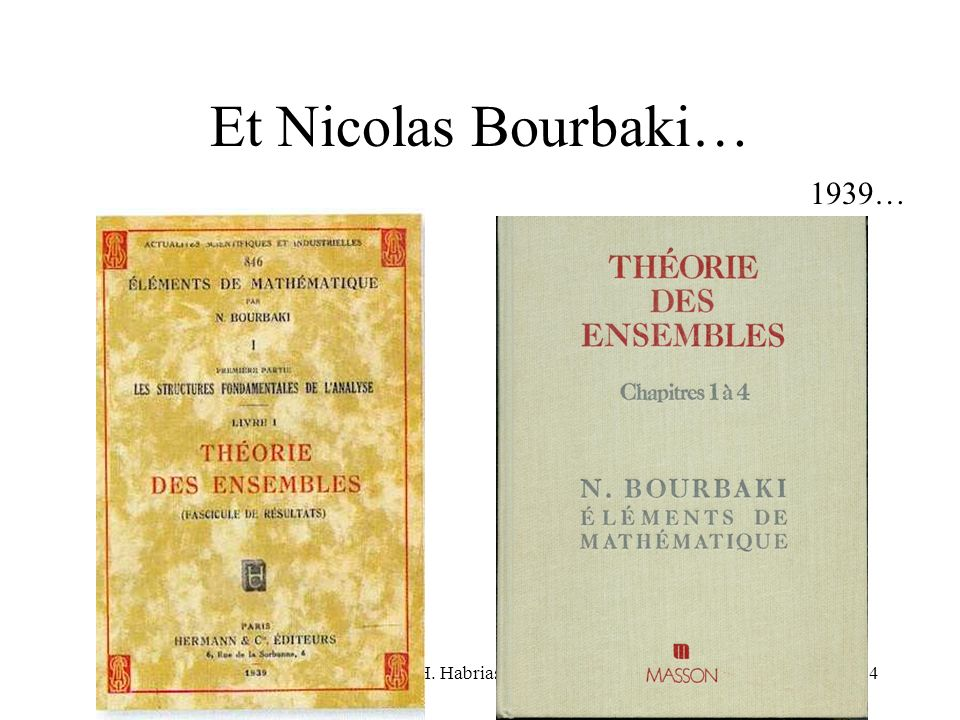 Et Nicolas Bourbaki… 1939… H. Habrias 2006