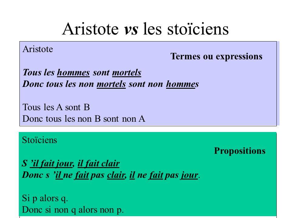 Aristote vs les stoïciens