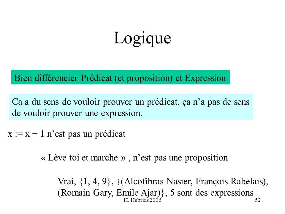 Logique Bien différencier Prédicat (et proposition) et Expression