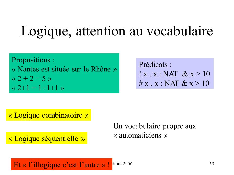 Logique, attention au vocabulaire