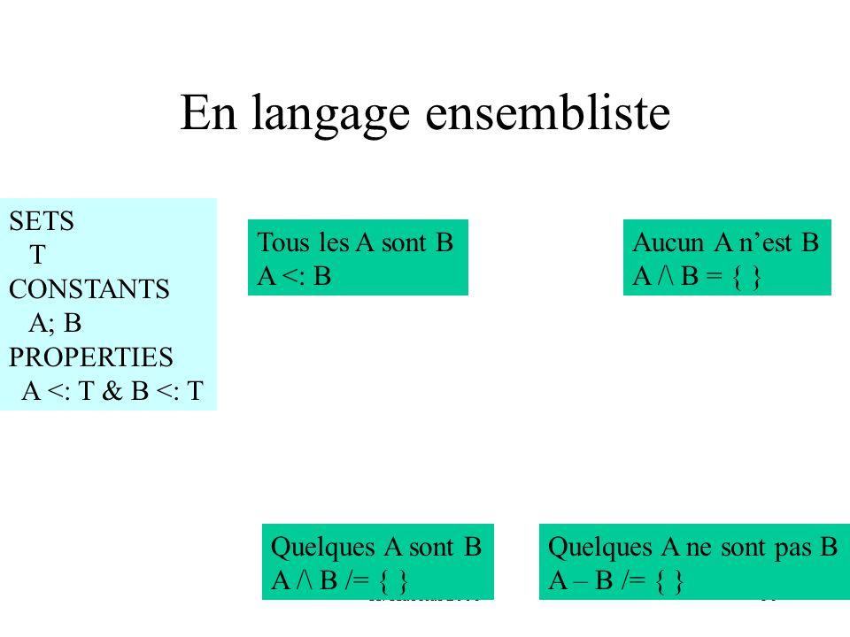 En langage ensembliste