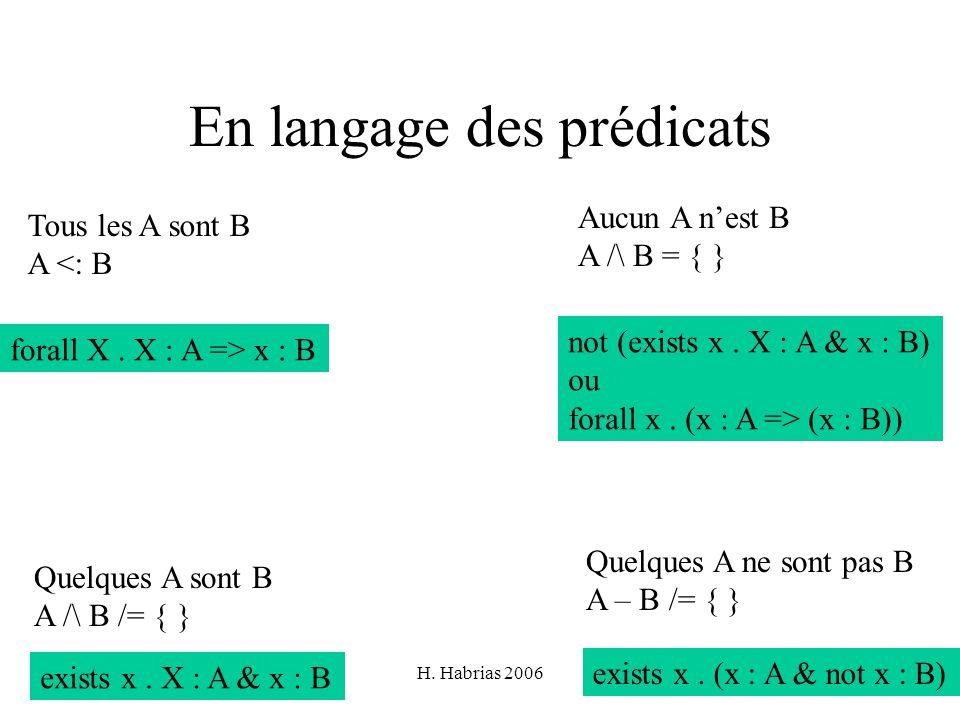En langage des prédicats