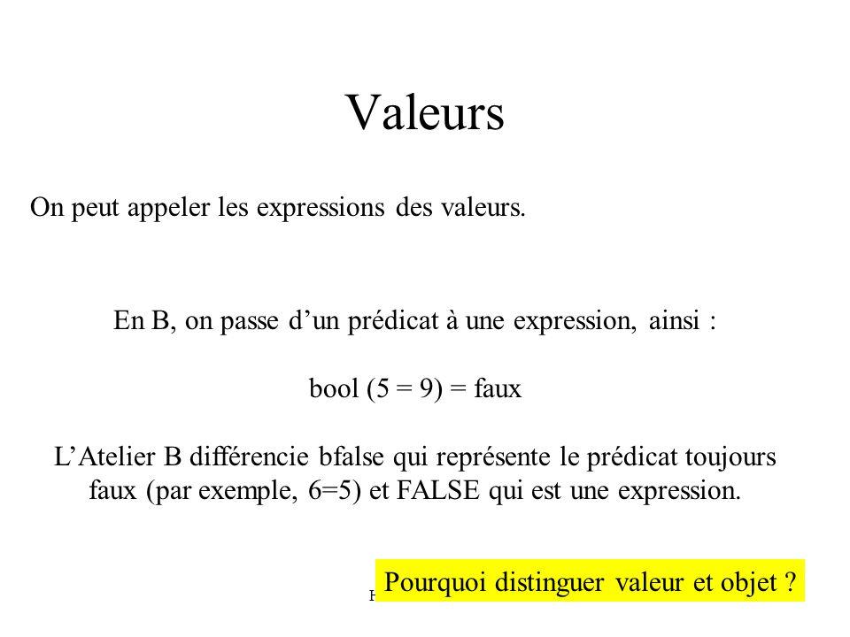 Valeurs On peut appeler les expressions des valeurs.