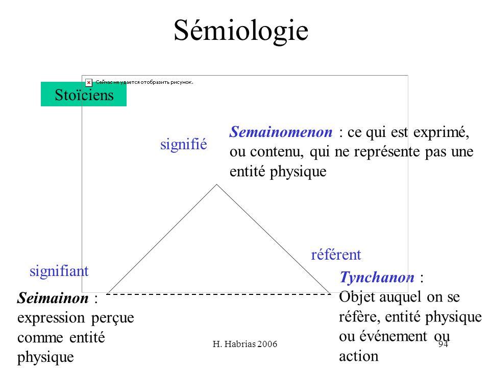 Sémiologie Stoïciens Semainomenon : ce qui est exprimé,