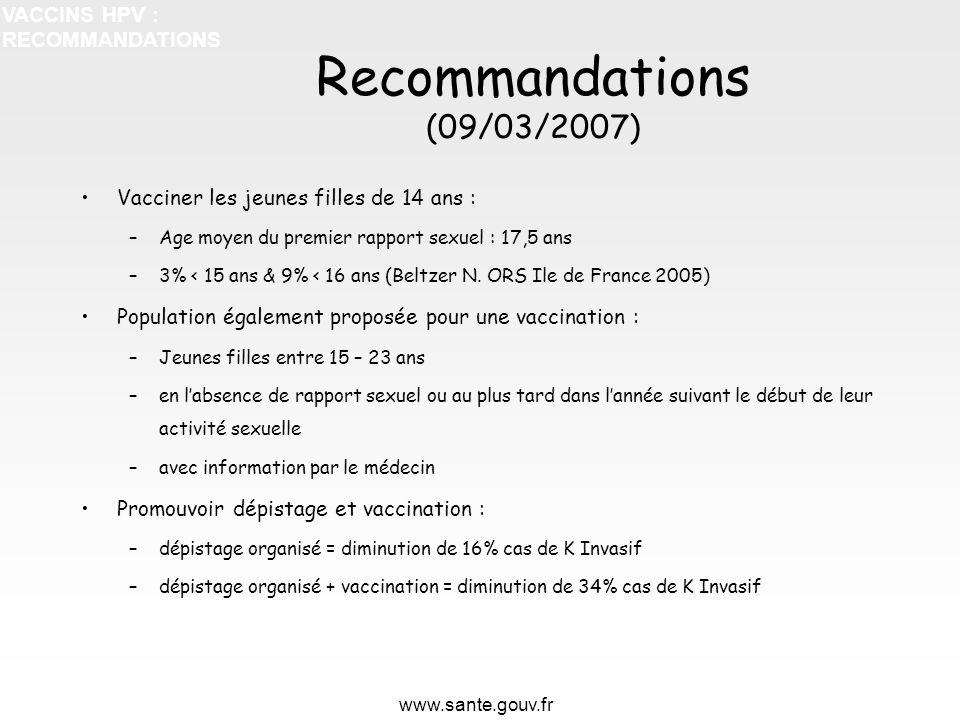 Recommandations (09/03/2007) VACCINS HPV : RECOMMANDATIONS