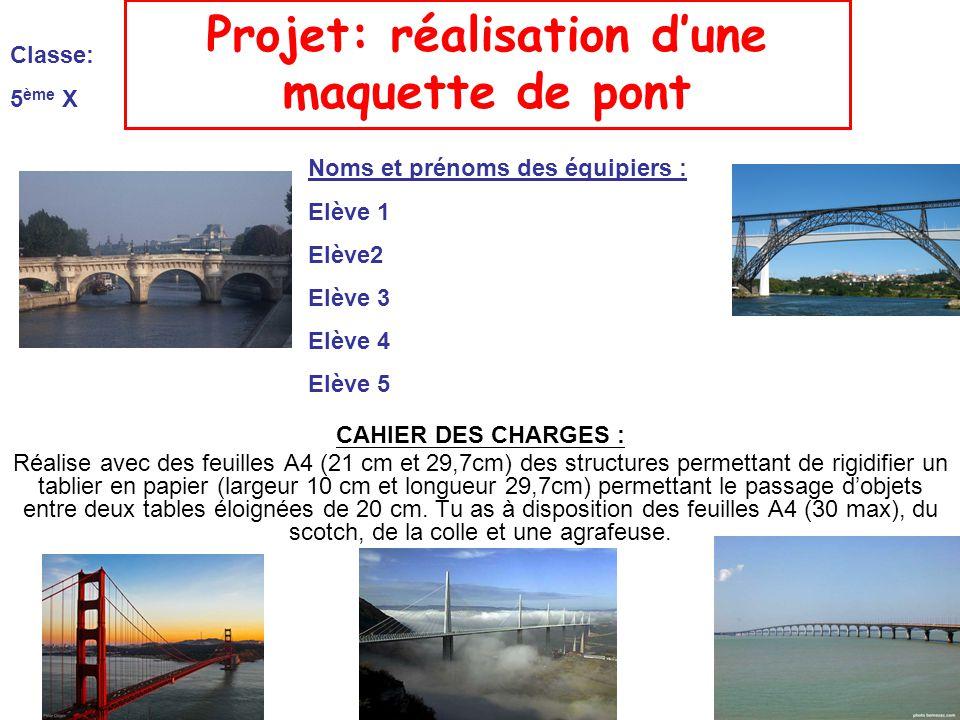 Projet: réalisation d'une maquette de pont
