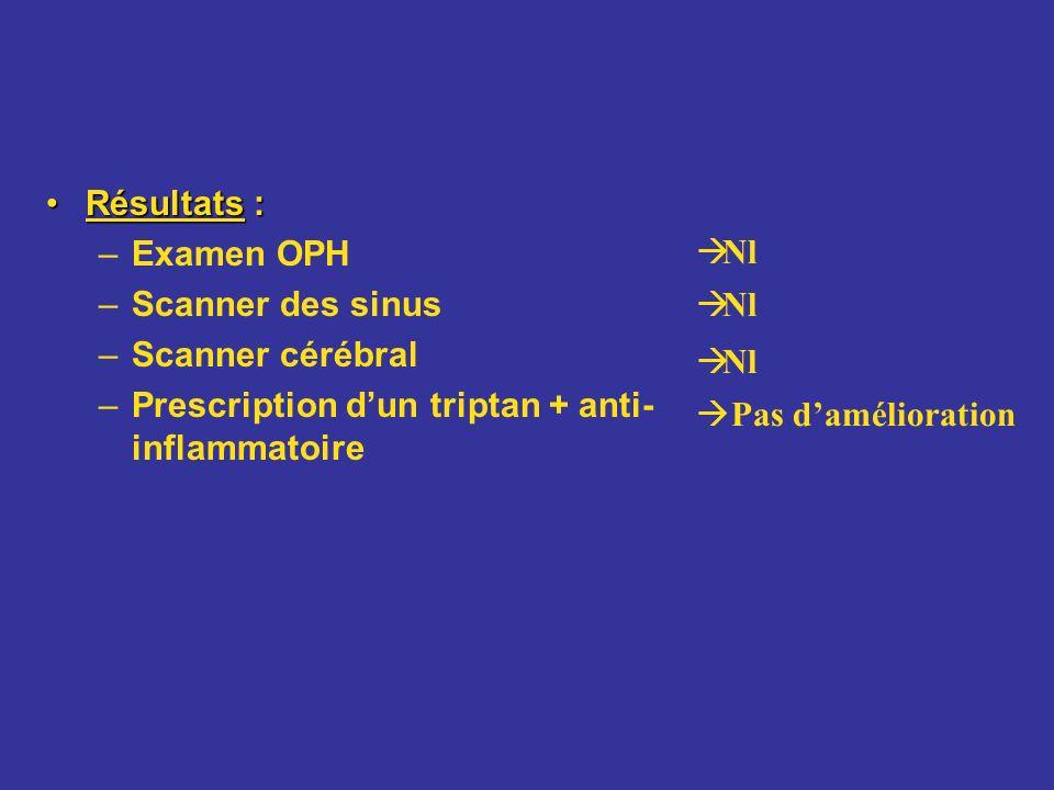 Résultats : Examen OPH. Scanner des sinus. Scanner cérébral. Prescription d'un triptan + anti-inflammatoire.