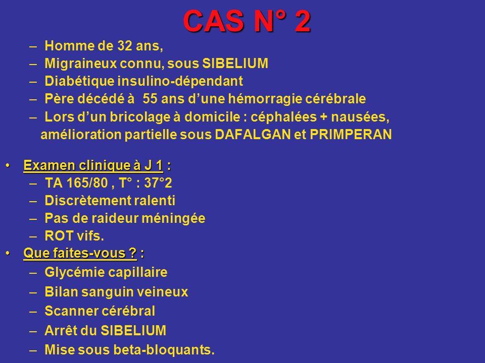 CAS N° 2 Homme de 32 ans, Migraineux connu, sous SIBELIUM