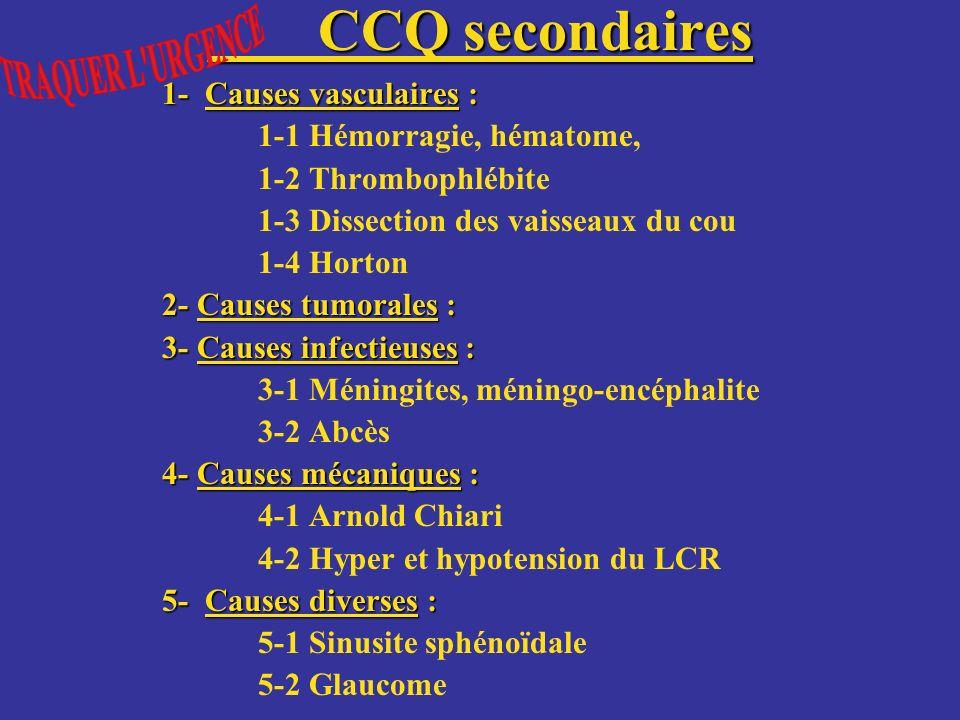 CCQ secondaires 1- Causes vasculaires : 1-1 Hémorragie, hématome,
