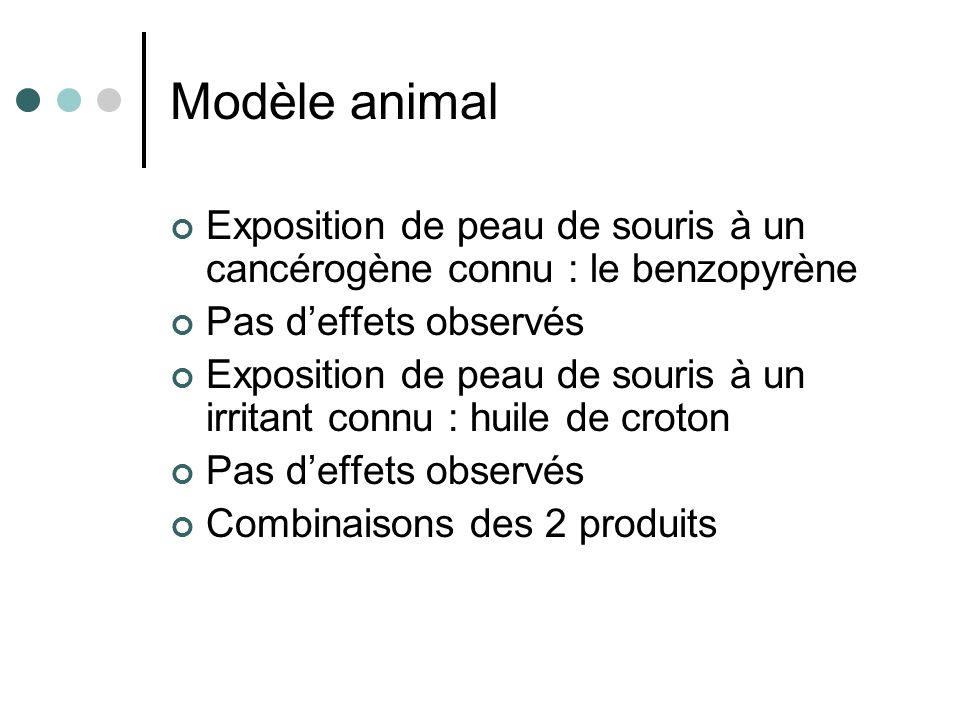 Modèle animal Exposition de peau de souris à un cancérogène connu : le benzopyrène. Pas d'effets observés.