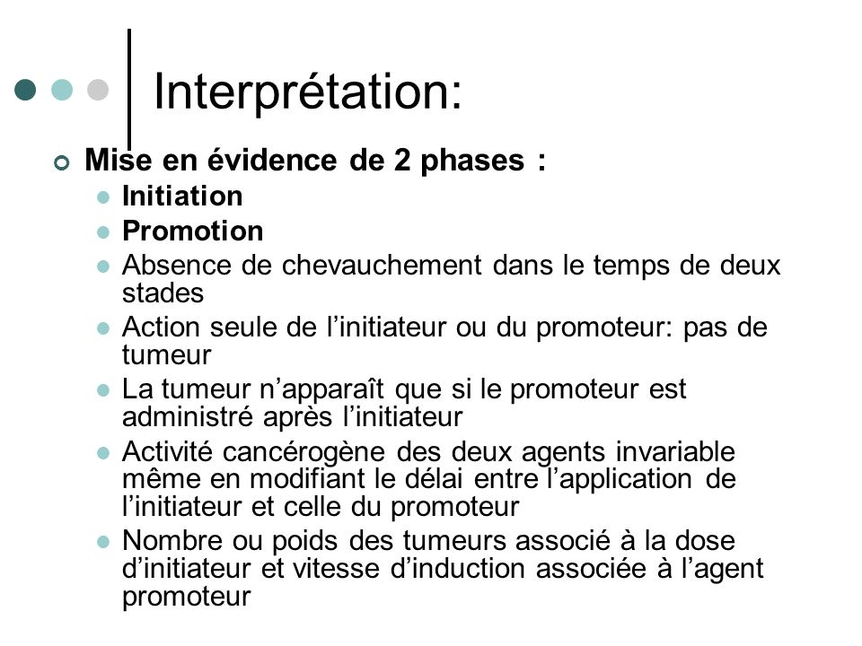 Interprétation: Mise en évidence de 2 phases : Initiation Promotion