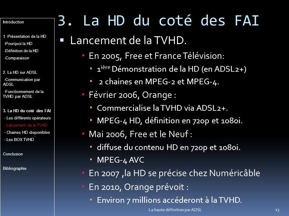 3. La HD du coté des FAI Lancement de la TVHD.