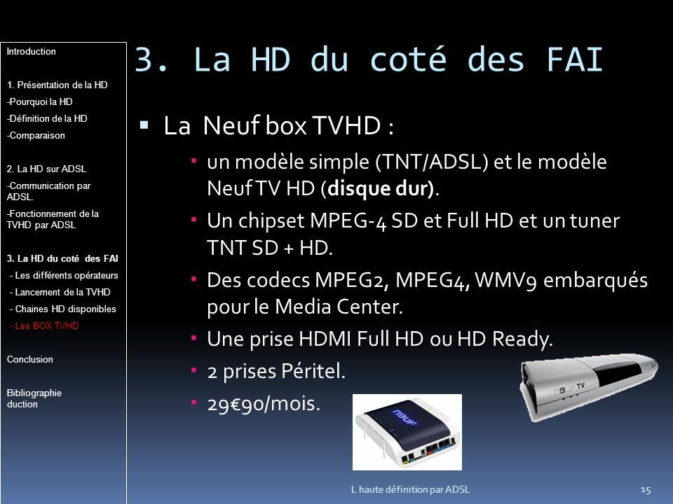 3. La HD du coté des FAI La Neuf box TVHD :