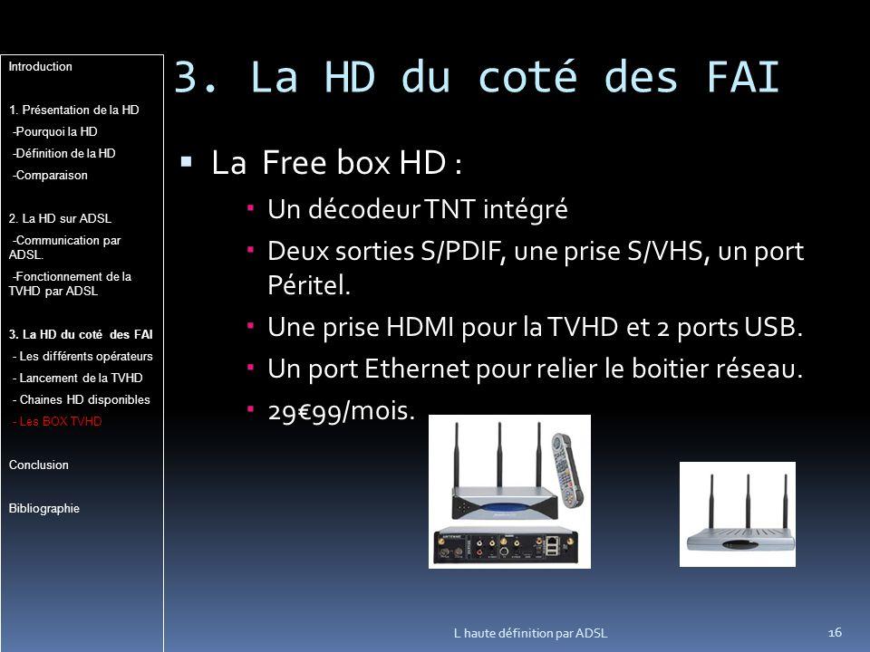 3. La HD du coté des FAI La Free box HD : Un décodeur TNT intégré
