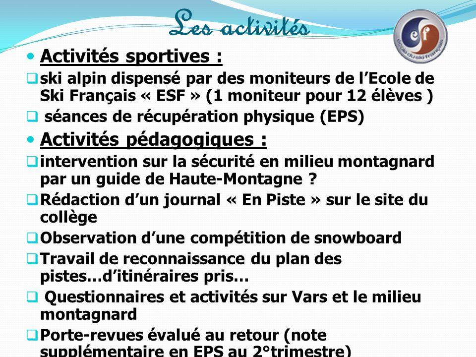 Les activités Activités sportives : Activités pédagogiques :