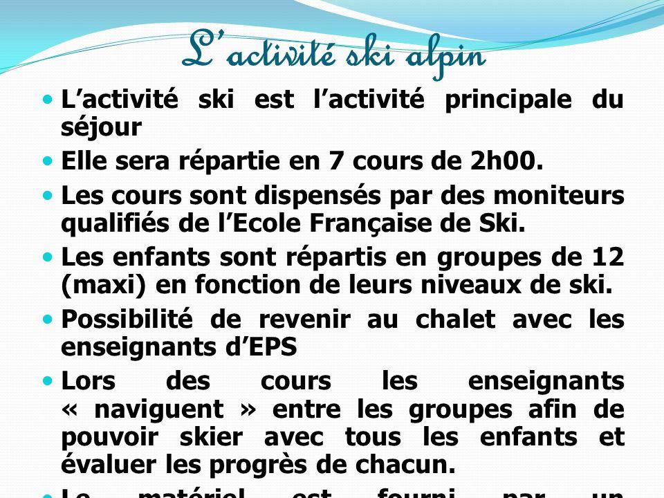 L'activité ski alpin L'activité ski est l'activité principale du séjour. Elle sera répartie en 7 cours de 2h00.
