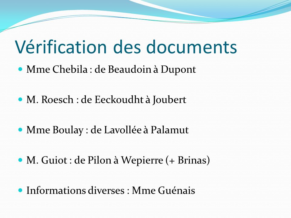 Vérification des documents