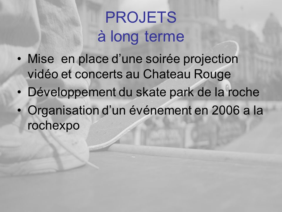 PROJETS à long terme Mise en place d'une soirée projection vidéo et concerts au Chateau Rouge. Développement du skate park de la roche.