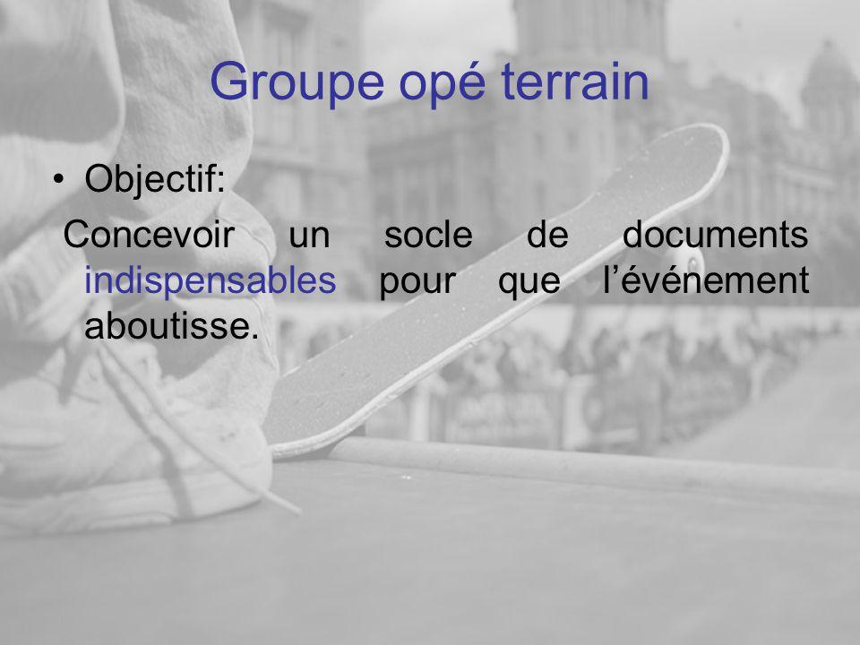 Groupe opé terrain Objectif: