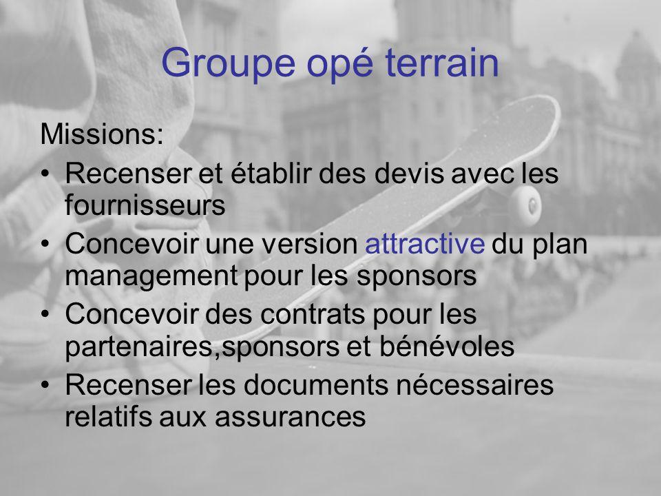 Groupe opé terrain Missions: