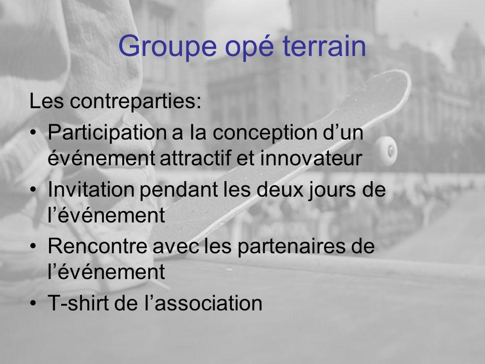 Groupe opé terrain Les contreparties: