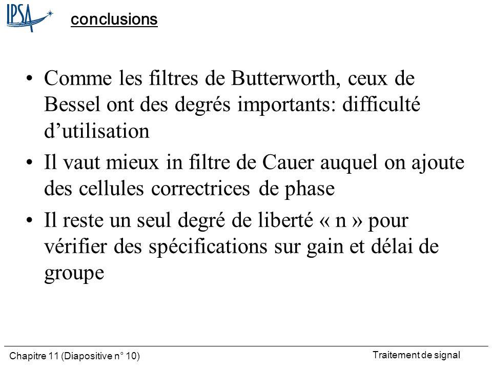 conclusions Comme les filtres de Butterworth, ceux de Bessel ont des degrés importants: difficulté d'utilisation.