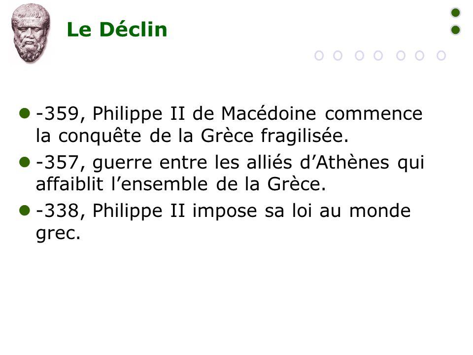 Le Déclin -359, Philippe II de Macédoine commence la conquête de la Grèce fragilisée.