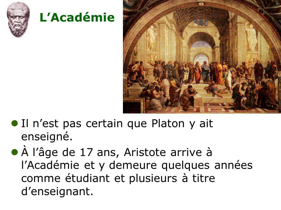 L'Académie Il n'est pas certain que Platon y ait enseigné.