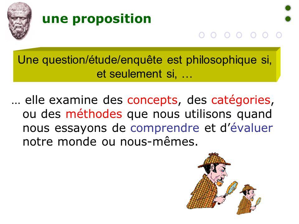 Une question/étude/enquête est philosophique si, et seulement si, …