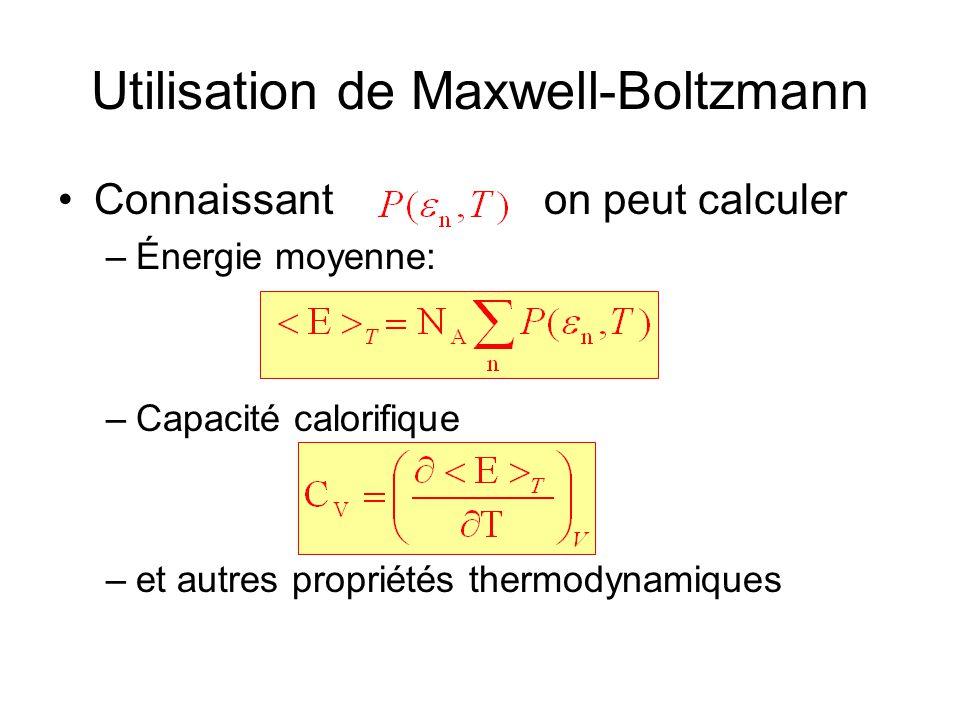 Utilisation de Maxwell-Boltzmann