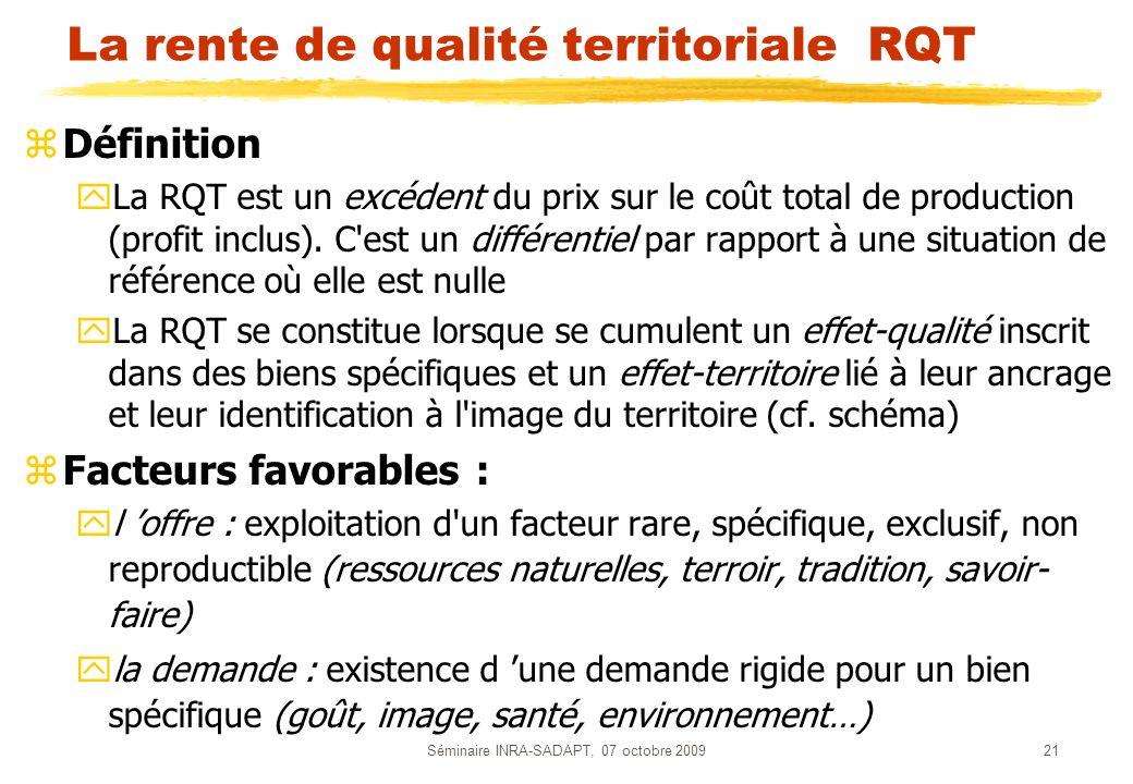 La rente de qualité territoriale RQT