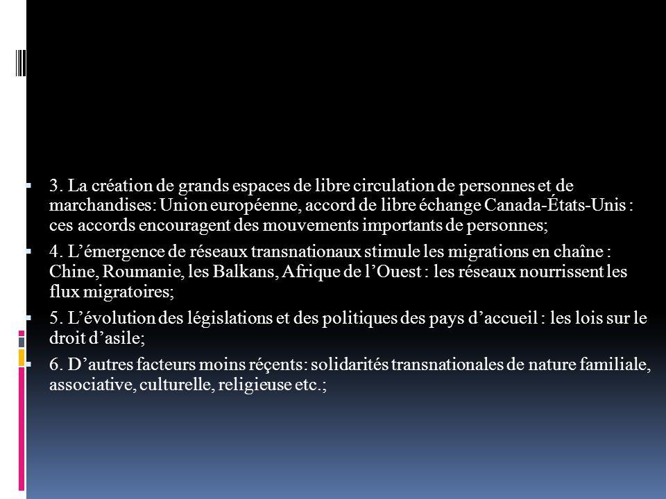 3. La création de grands espaces de libre circulation de personnes et de marchandises: Union européenne, accord de libre échange Canada-États-Unis : ces accords encouragent des mouvements importants de personnes;