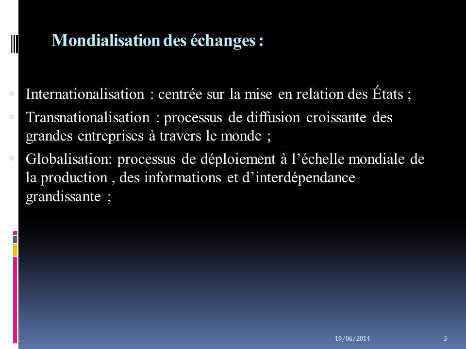 Mondialisation des échanges :
