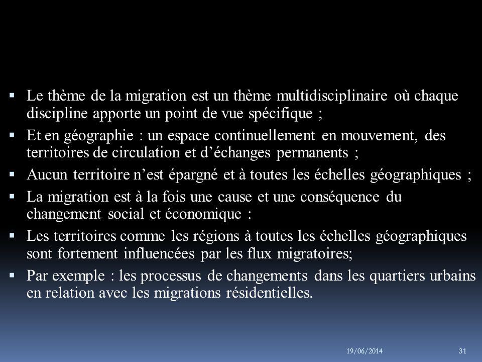 Le thème de la migration est un thème multidisciplinaire où chaque discipline apporte un point de vue spécifique ;