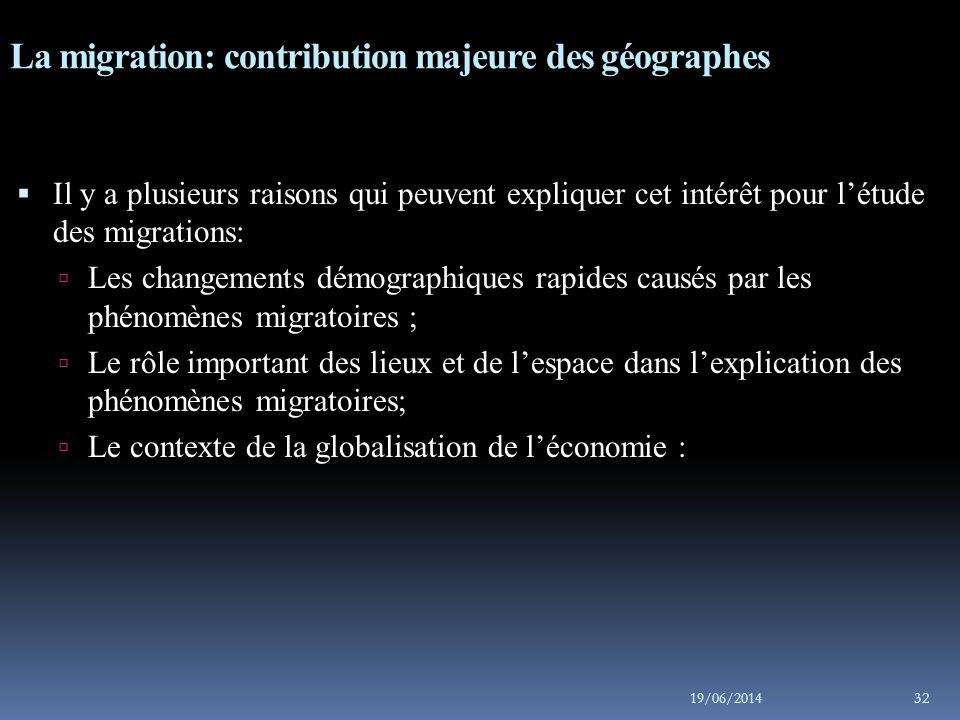 La migration: contribution majeure des géographes