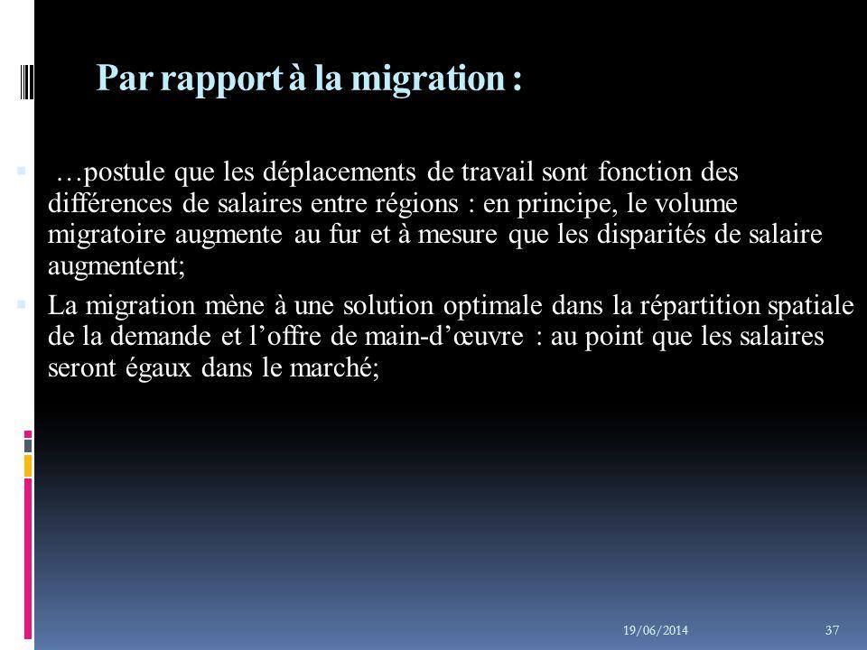 Par rapport à la migration :